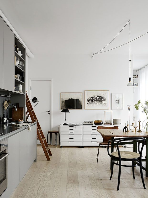 A Stockholm pad with a mix of vintage + designer pieces