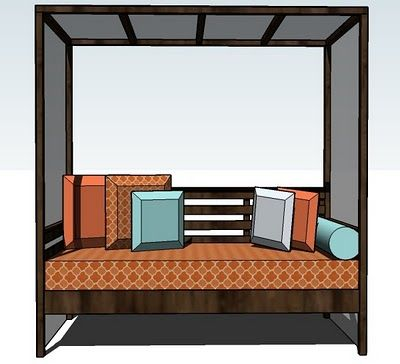 #diy Outdoor Daybed with Canopy #patio #furniture - ooo I want to make one without the canopy for under our pergola! :D