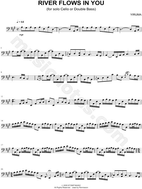 "Yiruma ""River Flows In You - Cello / Bass"" Sheet Music (Cello Solo) - Download & Print"