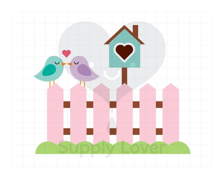 LOVEBIRDS Clip-Art Commercial Use, Birds on Fence, Bird, Heart, Fence, Love, Turquoise, Pink, Birdhouse, Kiss, Valentines - A0016