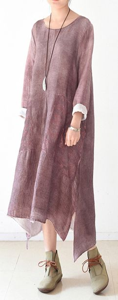 2017 spring layered pink cotton caftans plus size chiffon patchwork dresses flowy cut