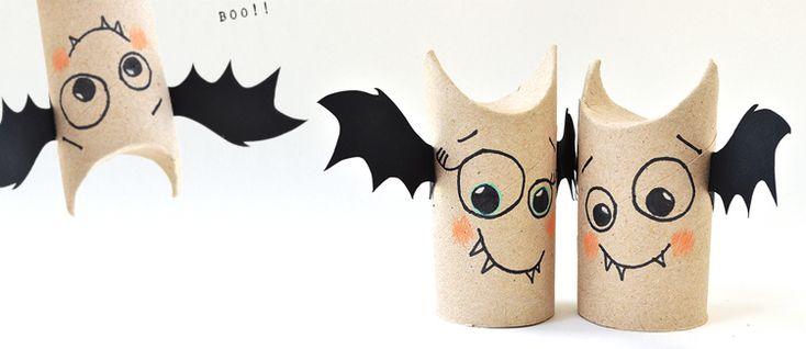 Besoin d'une déco d'Halloween en vitesse ? Cette chauve-souris faite à partir d'un rouleau de papier WC usagé est parfaite pour l'événement et très simple à réaliser.