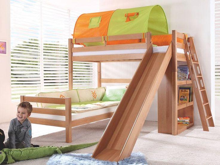 relita etagenbett sky in buche massiv 2 liegefl chen ber eck mit regal rutsche 1 kids. Black Bedroom Furniture Sets. Home Design Ideas