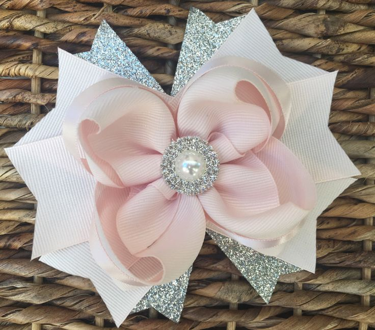 Hair bow, hair accessories, hair pin, hair clip, hair bows, bows, baby bows, hair bow for toddlers, boutique bows, blush bow, silver bow by ModernMeCollection on Etsy https://www.etsy.com/listing/477708502/hair-bow-hair-accessories-hair-pin-hair