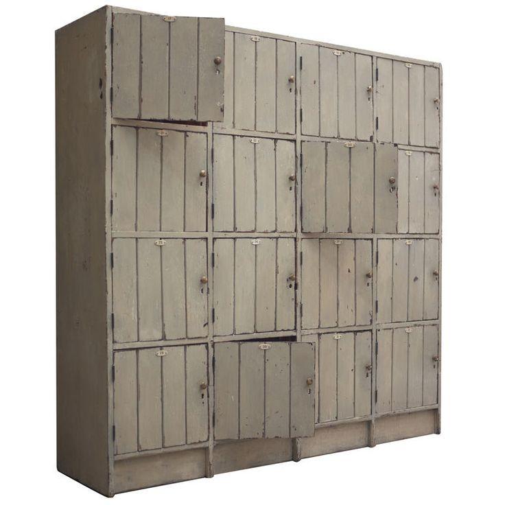 Wood Locker Style Storage Cabinet Vintage Wooden Cubes