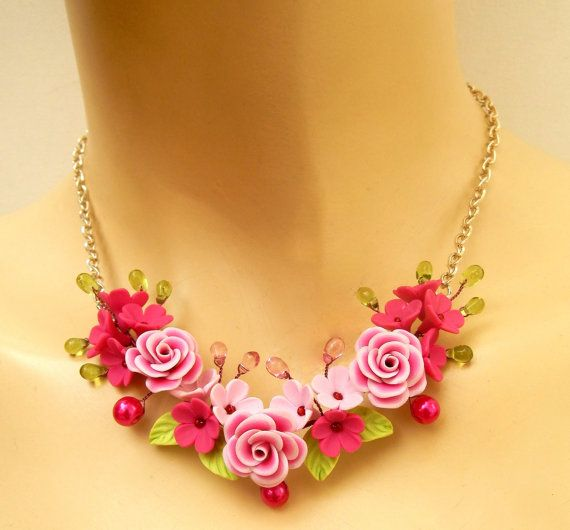 #Pink  Roses  Floral necklace  #Handmade polymer by insoujewelry