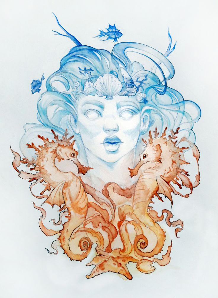 #girl #art #portrait #graphic #mermaid #watercolor #seahorse #illustration