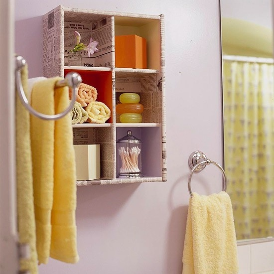 Wall Mounted bathroom storage...Like the idea of re-purposing with decoupage