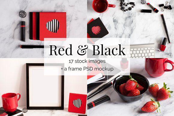 Red and Black Feminine Stock Bundle by Kreanille Design on @creativemarket