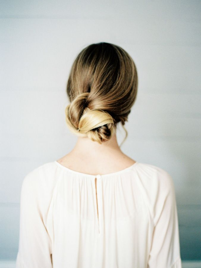 Soft knotted updo: http://www.stylemepretty.com/living/2016/11/10/3-totally-doable-hairstyles-for-the-everyday-girl/ Photography: Nancy Ray - http://nancyrayphotography.com/
