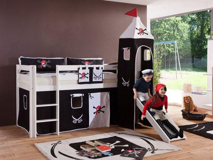 Relita Spielbett ALEX mit Rutsche/Turm Buche massiv weiß lackiert mit Stoffset 1