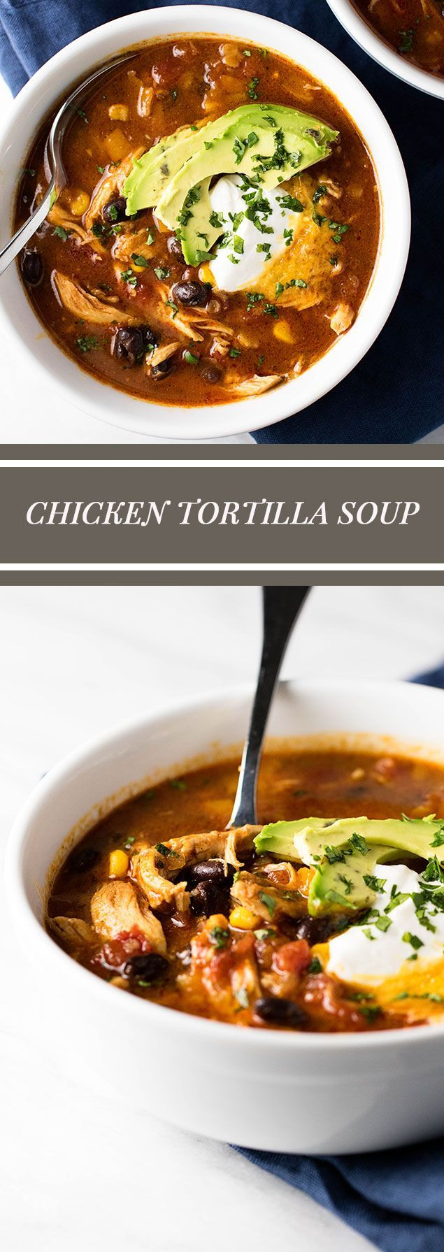 Warm and cozy chicken tortilla soup with corn and black beans | girlgonegourmet.com via @april7116