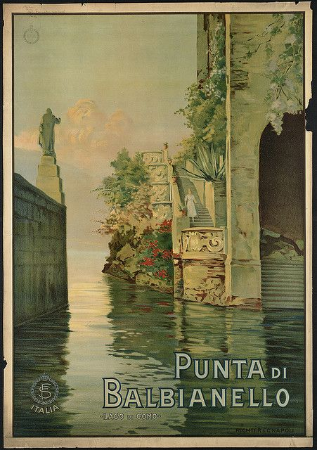 Love the way the eye can flow through this illustration. The woman on the steps is a nice, subtle focal point. Doesn't George Clooney have a house on Lake Como?