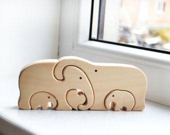 Puzzle animales - familia de elefantes de madera - juguete Puzzle - Puzzle madera elefante - juguetes educativos - niños regalos