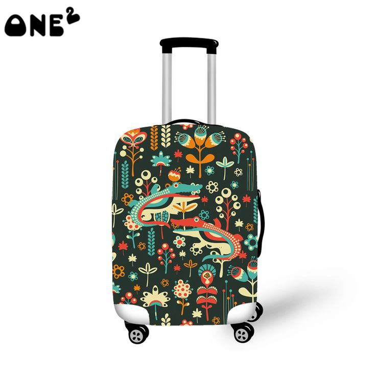 ONE2 Design national crocodile colorful dark green luggage cover to 18-30 inch for teenager women man girl boy college students