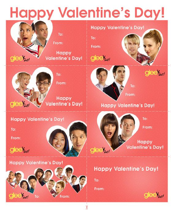Free Printable Glee Valentine's Day Cards