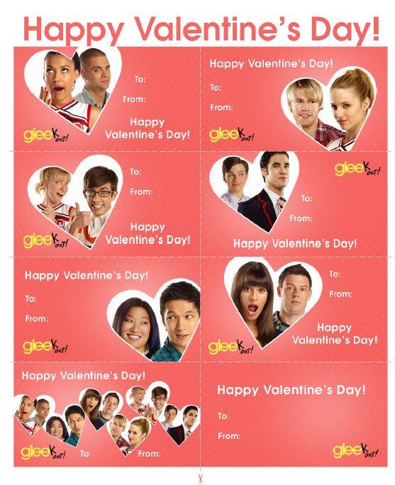Free Printable Glee Valentine's Day Cards