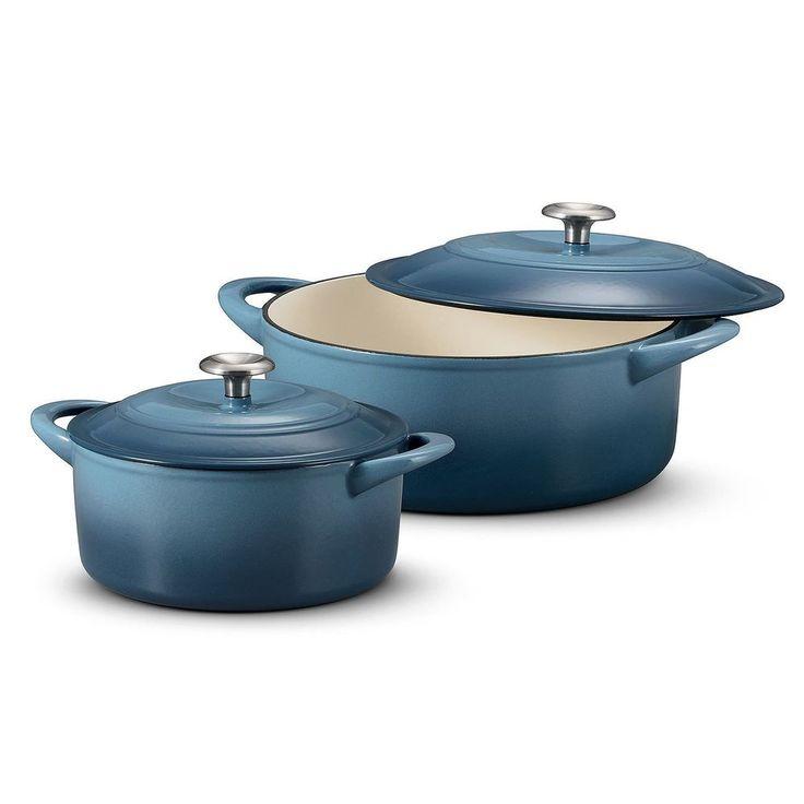 Dutch Oven Set 2 Piece Cast Iron Enamel Finish Cookware Kitchen Warranty New #Tramontina