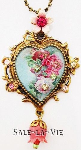Michal Negrin Wild Roses Cameo Heart Necklace