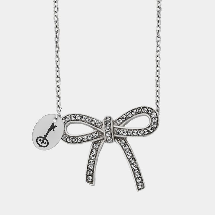 Kappa Kappa Gamma Symbol Stainless Steel and Crystal Bow Necklace