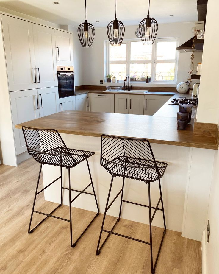 Howdens kitchen by fionaanderson bar stools by Dunelm in