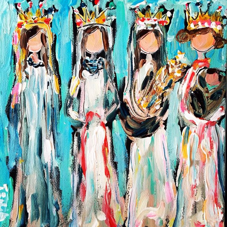 """The Four"" These four women: Tamar, Rahab, Ruth and Bathsheba have something in common. They are grandmothers in Jesus' family tree!  Grandmothers! They had affairs, were prostitutes, they lied and were truly not the  starry eyed perfect princesses.   But God chose them..... These four broken women.  And that's why I gave them crowns. A symbol  of grace and love from our Creator and Redeemer.  ""The family tree of Christ startingly notes not one woman but four. Four broken women-women who…"