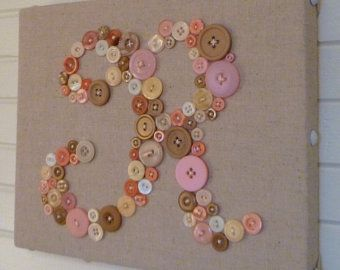 Baby Nursery Button Letter Art, Personalized Kids Wall Art, Baby Girl Pink Blend Button Art, Ready To Frame or Wall Canvas  I have thousands of pink buttons in every shade you can imagine. This special PINK BUTTON BLEND includes them all -- from your basic pink to coral pink, baby pink, lavender pink, peachy pink, rose pink, hot pink, fuchsia and some I dont even know what to call. I can make a letter using the lighter shades or throw in a mix of both light and darker pinks. A lot of these…