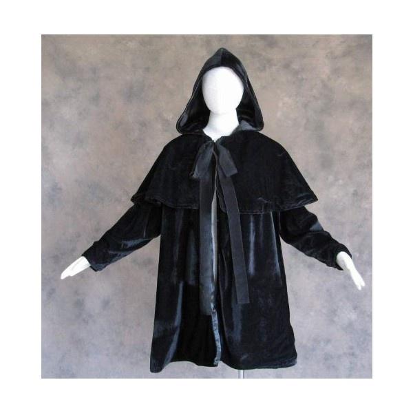 Artemisia Designs Lined Black Velvet Satin Cloak Coat Jacket Costume S... ($99) ❤ liked on Polyvore