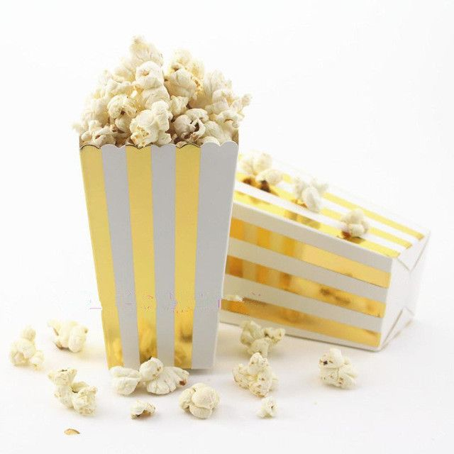 Super Deals 12Pcs Popcorn Boxes For Baby Shower Birthday Party Snake Food Packaging Supplies Theatre Food Loot Bags Gold/Silver