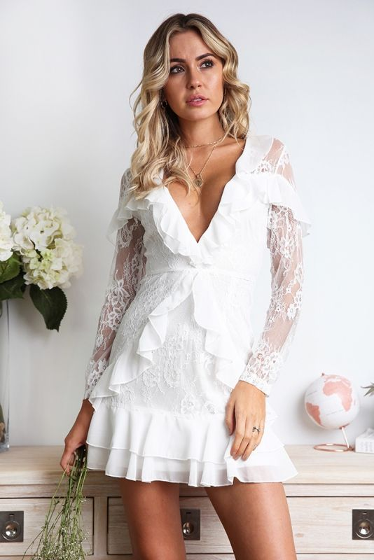 06733a990f5b Kiarna Dress - White - Stelly | Graduation 2018 in 2019 | White dress,  Dresses, Lace sleeves
