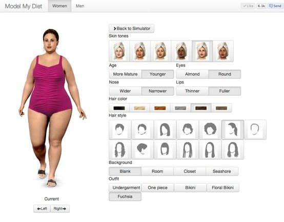 Enter your current weight, height, hairstyle, face and body shape then see how you will look at your goal weight.
