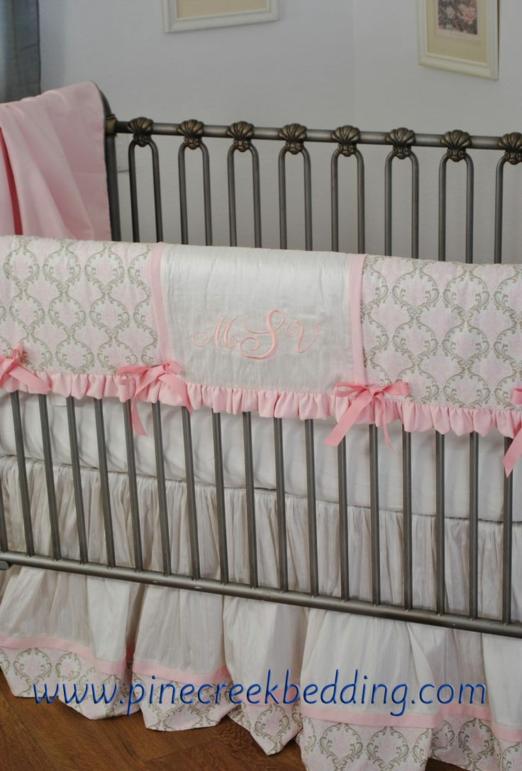 Crib rail for sale - White And Pink Silk Crib Bedding With The Baby S Monogram In Pink Thread On The Crib Rail Guard