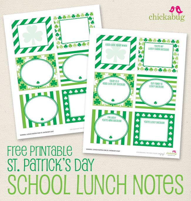 FREE printable St. Patrick's Day school lunch notes