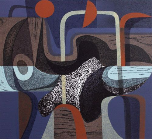 Riverland Dream 2/10 (Recent work) by Peter Green  2014 woodcut and stencil, 30 x 33 cm