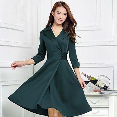[NewYearSale]vestido verde de la princesa delgada elegante de las mujeres – USD $ 28.35