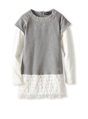 60% OFF Blumarine Girl's Rhinestone Trimmed Dress (Gray)