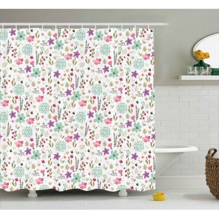 Shabby Chic Shower Curtain, Flowers Floral Romantic Country Nature