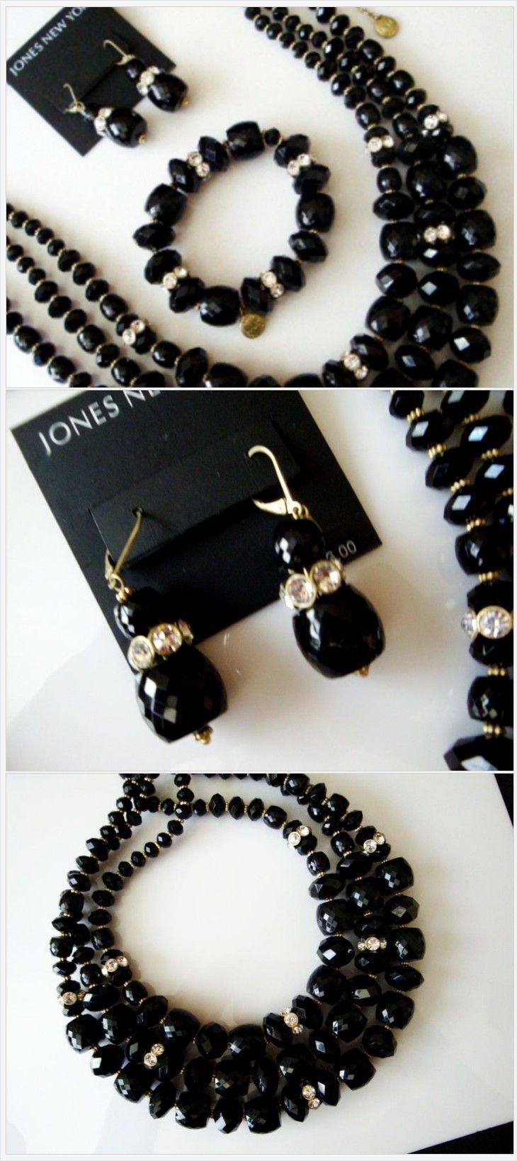 Jones New York Black Necklace Bracelet Earrings Set Black Faceted Bead and Rhinestone JNY Statement Necklace Bracelet and Dangle Earrings