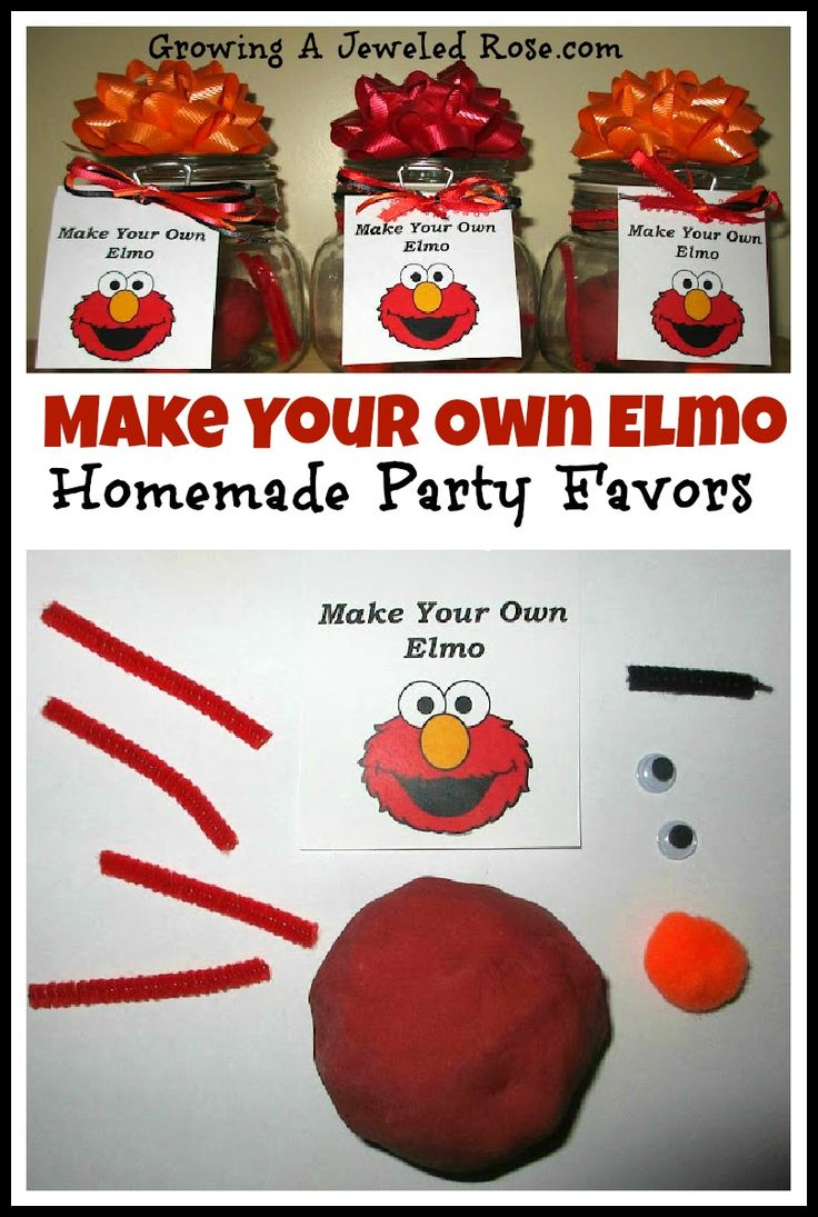 DIY Elmo party favors toddlers can help make!  Can easily be adapted to fit any party theme!