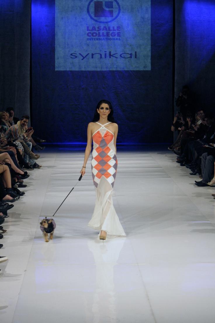 Bias cut patchworked satin dress with chiffon skirt