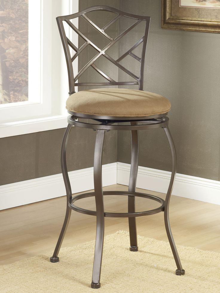 Features Delicate lattice back design Sturdy metal construction Brown powder Metal Bar StoolsMetal