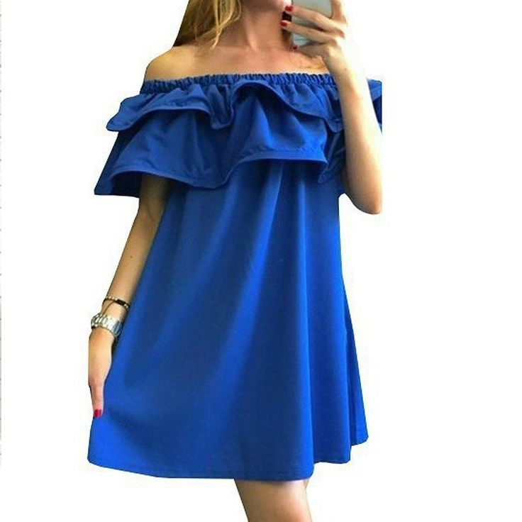 Women Fashion Slash Neck Ruffles Women Dress Summer Beach Dress Sexy Strapless Dress Style