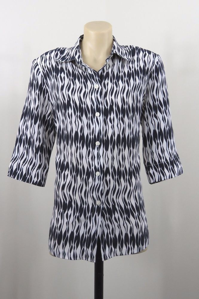 Size M 12 Liz Jordan Ladies Shirt Top Smart Casual Work Office 3/4 Sleeve Design