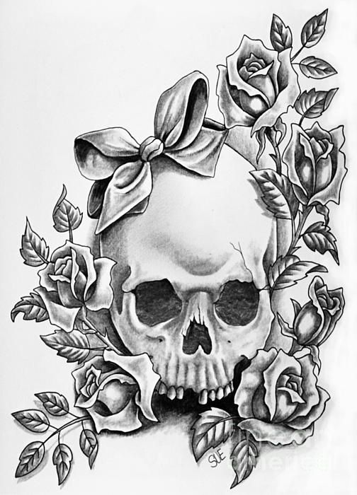 skull, rose, roses, bow, art, pencil, greyscale,  paint, painting, canvas, drawing, print, tattoo shop, tattoo artist, Suzanne Buttle, art for sale