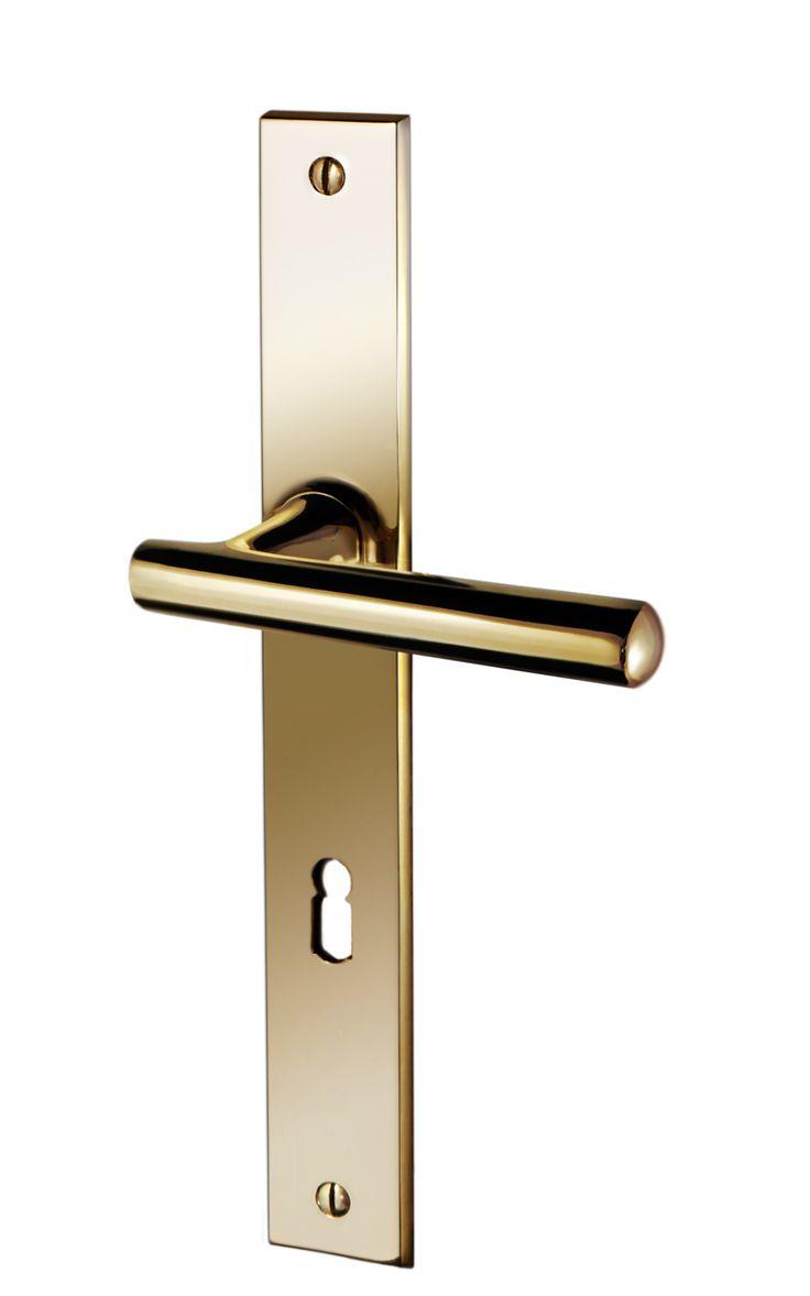 "http://www.cala-beschlaege.de/product_info.php?products_id=116&sub_id_index=48 Türdrücker, Kombination aus Türgriff ""Antares"" mit Langschild ""Modesta Pordo"". Ausführung: Messing poliert. #Tuergriff #Messing #Beschlaege #Brass #Doorhandle"