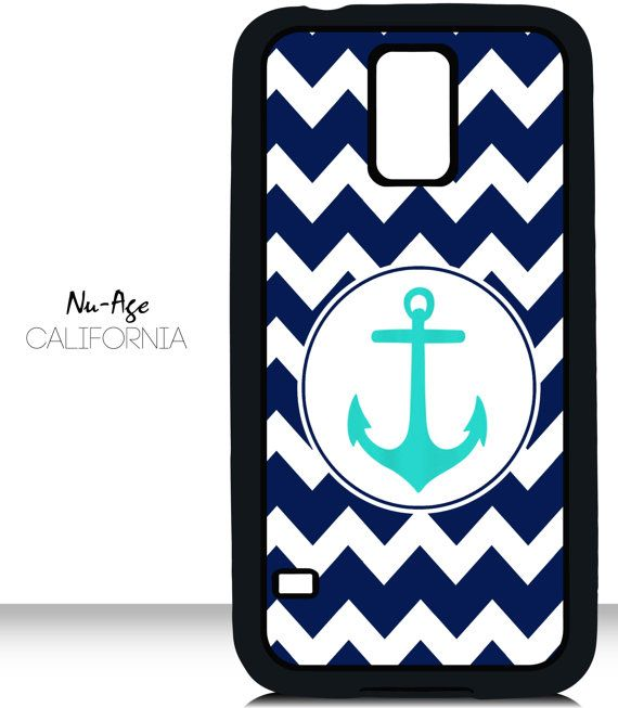 Teal Anchor Cell Phone Case Zig Zag Nautical Design Samsung Galaxy S5 Case Sailor Symbol Fashionable Anchor Modern Popular Zig Zag Design by NuAgeProducts