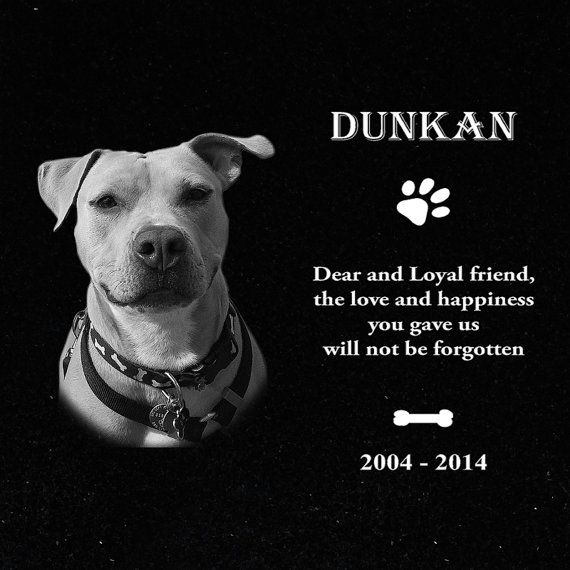 Personalized Granite Tombstone for your dear Pet;  it is a 12x12 inch high quality granite stone, $29.99