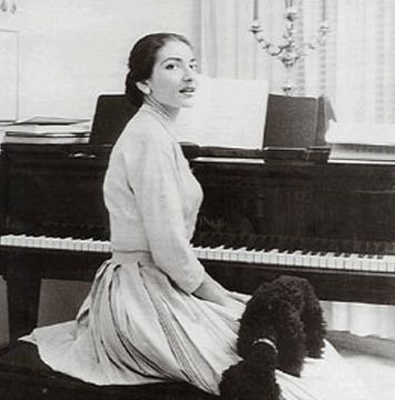 Maria Callas and her dog, a beautiful moment.  photo found on http://www.grreporter.info