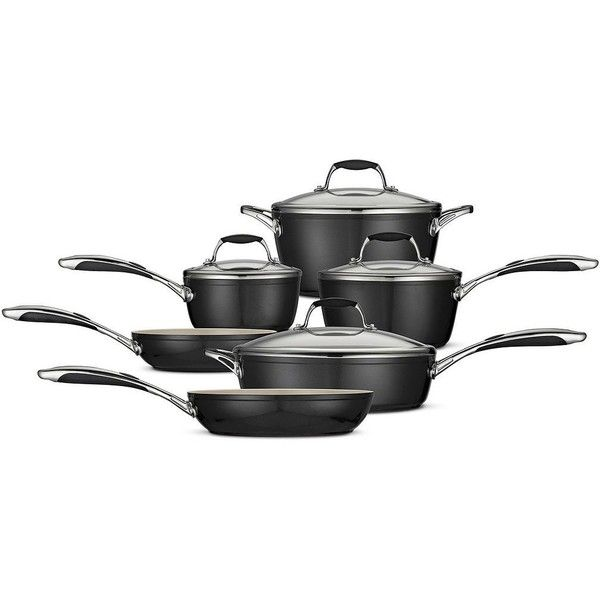 Tramontina Gourmet Ceramica 10-pc. Cookware Set (Black) ($450) ❤ liked on Polyvore featuring home, kitchen & dining, cookware, black, tramontina dutch oven, tramontina, tramontina skillet, tramontina fry pan y oven safe skillet