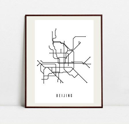 Beijing Metro Map - Black and White Art Print - Digital Download Art Print by Postery on Etsy